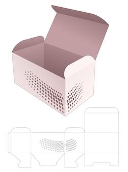 Lebensmittelbox mit schablonierten hafltonpunkten stanzschablone