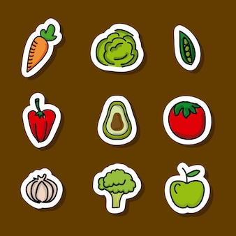 Lebensmitteldesign über brauner hintergrundvektorillustration