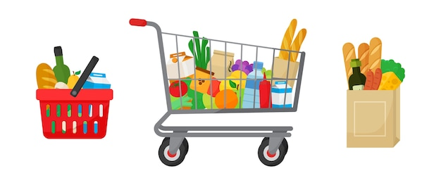 Lebensmitteleinkaufsset. einkaufskorb und wagen, papierverpackung mit produkten. lebensmittel und getränke, gemüse und obst. illustration