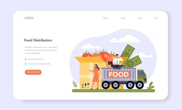 Lebensmitteleinzelhandel sektor der wirtschaft webbanner