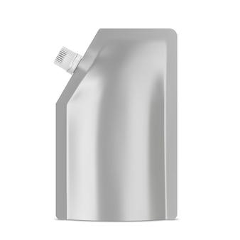 Lebensmittelfolien-doy-pack-modell kunststoff-standbeutel mit realistischer vektorvorlage für eine leere vorlage