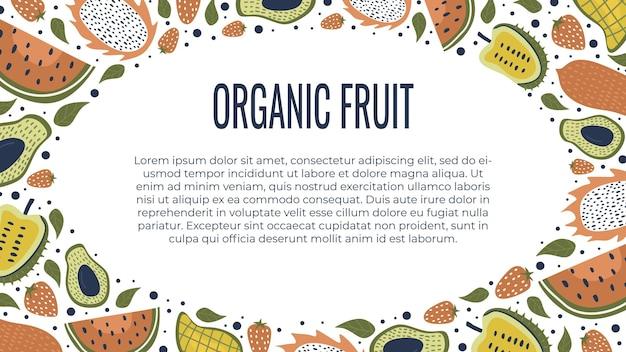 Lebensmittelfrucht-bannerschablone mit gezeichneter dekoration des kreises hand