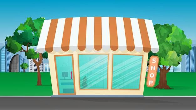 Lebensmittelgeschäft in der mitte des parks. park, lebensmittelgeschäft, flacher stil. illustration