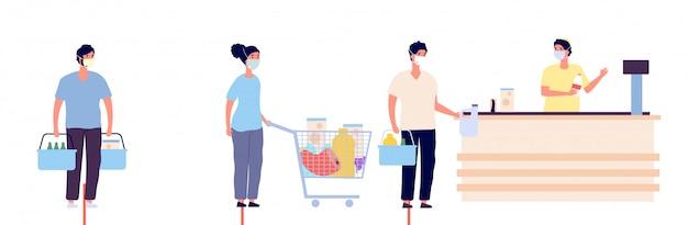 Lebensmittelgeschäft warteschlange. globales coronavirus Premium Vektoren