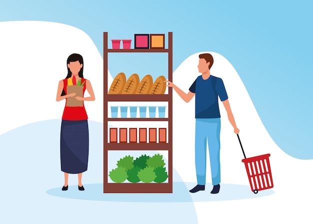 Lebensmittelgeschäfte mit personencharakteren