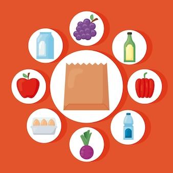 Lebensmittelgeschäfte stellen icons um
