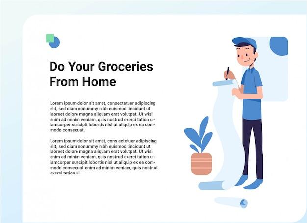 Lebensmittelhändler, der einkaufsnotizillustration aufschreibt