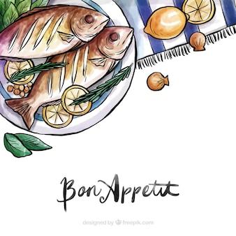 Lebensmittelhintergrund mit aquarellart