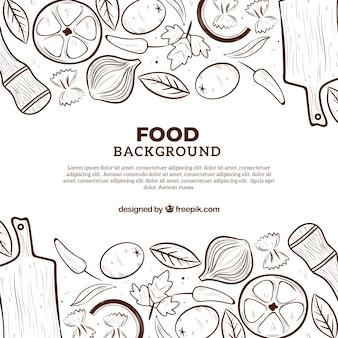 Lebensmittelhintergrund mit flachem design