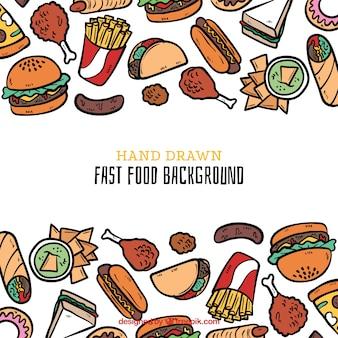 Lebensmittelhintergrund mit hand gezeichneter art