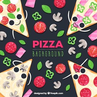 Lebensmittelhintergrund mit netten pizzen