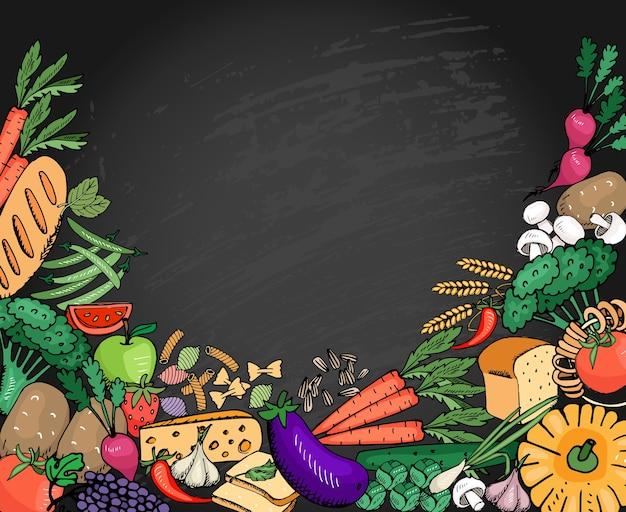 Lebensmittelhintergrundgemüse und -frucht, -käse und -brot für italienisches menü mit platz für text. vektorillustration