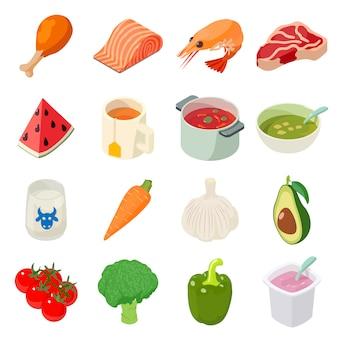 Lebensmittelikonen eingestellt. isometrische illustration von 16 lebensmittelvektorikonen für netz
