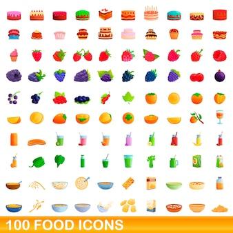 Lebensmittelikonen eingestellt. karikaturillustration von nahrungsmittelikonen, die auf weißem hintergrund eingestellt werden