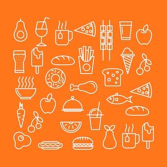 Lebensmittelikonen im orange hintergrund