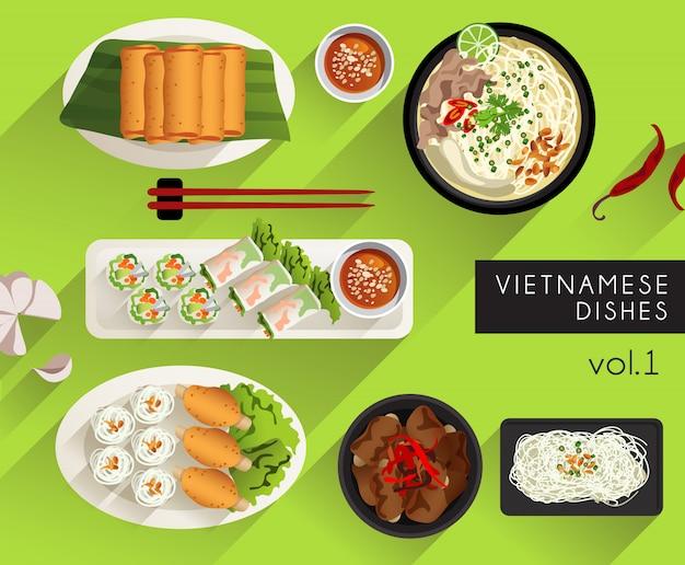 Lebensmittelillustration: vietnamesisches lebensmittel-set