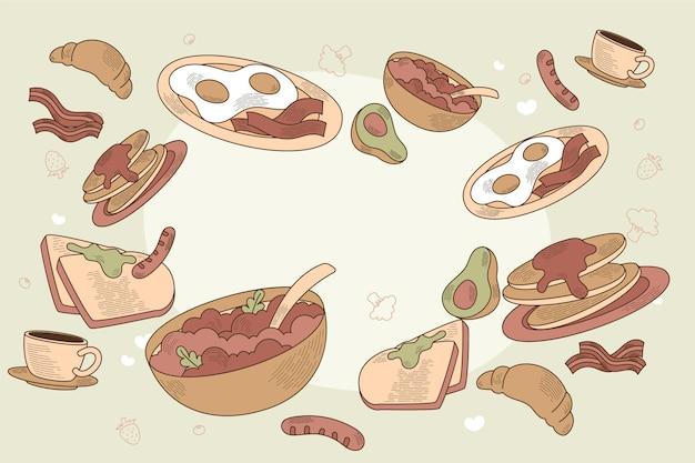 Lebensmittelillustrationshintergrund des flachen designs