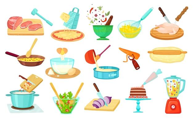 Lebensmittelkochprozess, objekte isoliert auf weißen abbildungen