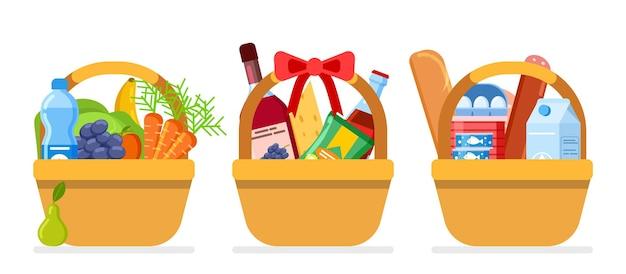 Lebensmittelkörbe. weihnachtsgeschenknahrung, paket mit unterschiedlichem essen. isolierte flache picknickpakete vom bauernmarkt oder lebensmittelgeschäft. spenden oder wohltätigkeitsorganisationen für arme hungrige menschen-vektorillustration