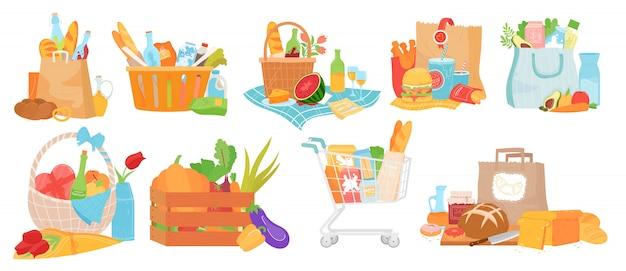 Lebensmittelkorb-illustrationsset, cartoon-sammlung mit kastenbehälter, traditionellem korb und picknickkörben mit leckerem essen