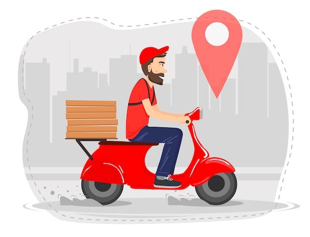 Lebensmittellieferung durch den lieferboten auf einem moped mit pizza.