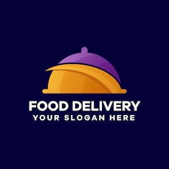 Lebensmittellieferung logo-design mit farbverlauf