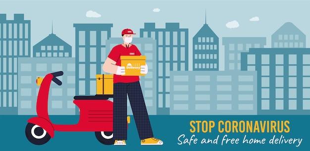 Lebensmittellieferung mit coronavirus-sicherheitsmaßnahmen - banner mit kurier in maske