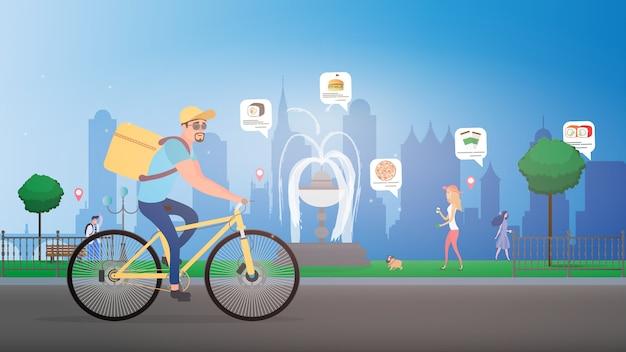 Lebensmittellieferung mit dem fahrrad. ein radfahrer mit einer kiste auf dem rücken.