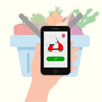 Lebensmittellieferung von gemüse über die anwendung am telefon
