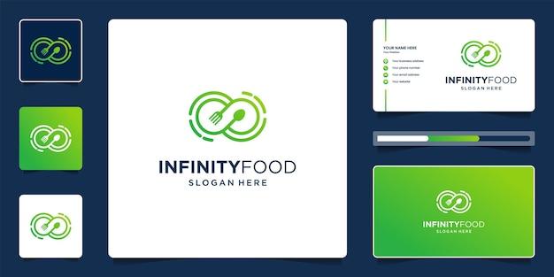 Lebensmittellogo mit unendlichkeitssymbol, kreativem logoentwurf und visitenkarte