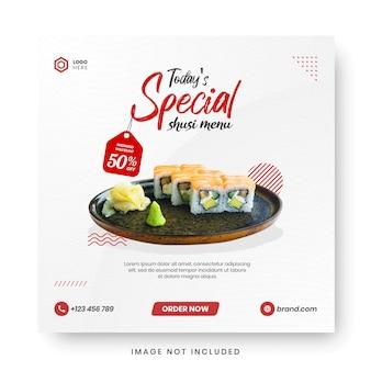 Lebensmittelmenü banner social media post.