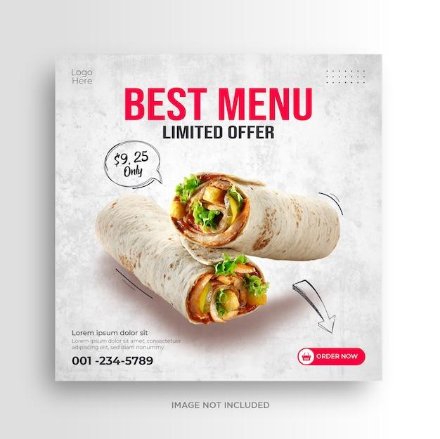 Lebensmittelmenü restaurant social media banner vorlage
