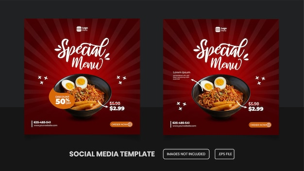 Lebensmittelmenü-social-media-vorlage mit würzigem konzept premium-eps