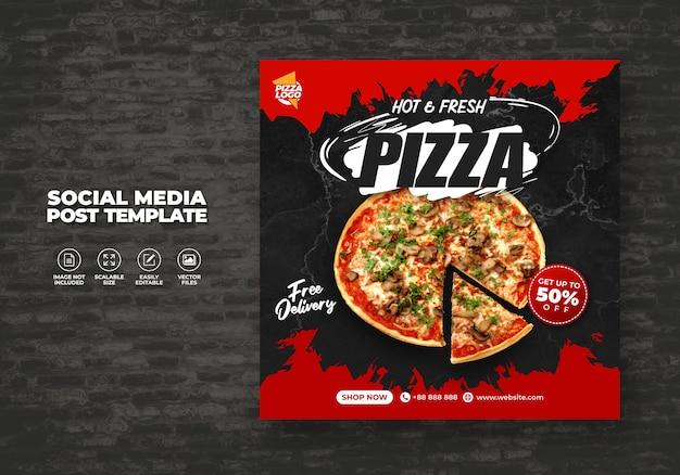 Lebensmittelmenü und köstliche heisse frische pizza für sozialmedien-vektorvorlage