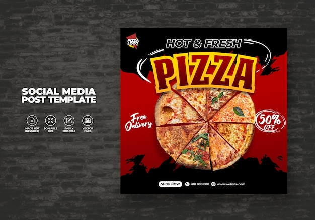 Lebensmittelmenü und köstliches pizza-restaurant für sozialmedien-vektorvorlage