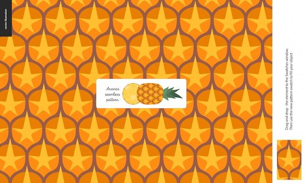 Lebensmittelmuster - frucht, ananasbeschaffenheit - ein nahtloses muster der ananasschalenschale voll der gelb-orangeen dorne