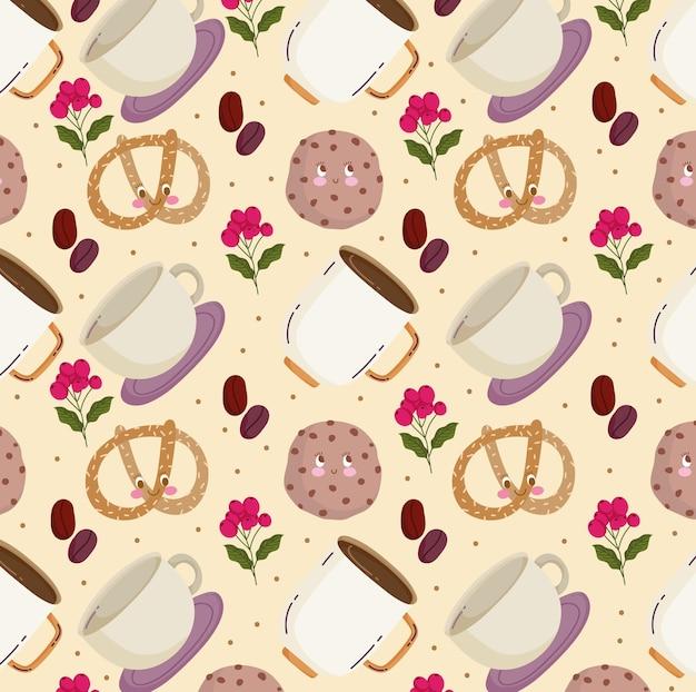 Lebensmittelmuster glückliche karikatur niedliche brezel kaffeetasse kekse vektor-illustration