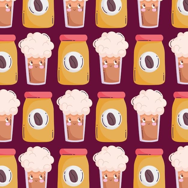 Lebensmittelmuster lustige glückliche karikaturkaffeeflasche und smoothies-vektorillustration
