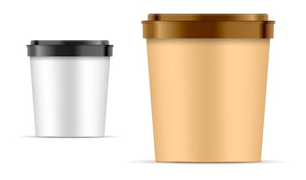 Lebensmittelpapiereimer behälter zum nachtisch, joghurt