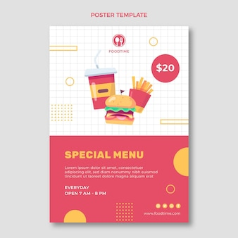 Lebensmittelplakat im flachen design
