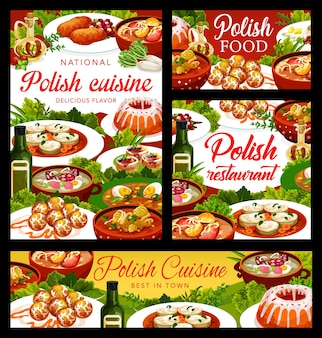 Lebensmittelplakate der polnischen küche mit gerichten und mahlzeiten von polen, vektorrestaurantmenüabdeckungen. traditionelle polnische küche, schweineschnitzel, weißer borschtsch und zurek-suppe, truthahn-kapustnyak und hammel