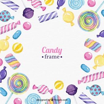 Lebensmittelrahmen mit bunten süßigkeiten