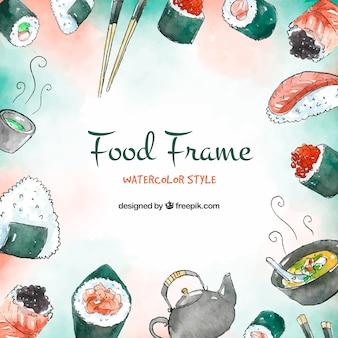 Lebensmittelrahmenhintergrund mit Sushi