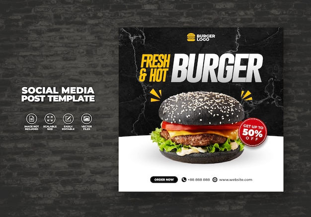 Lebensmittelrestaurant für social media burger menu promotion template