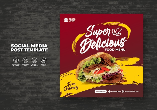 Lebensmittelrestaurant für sozialmedienvorlage spezial kostenloses frisches köstliches menü promo