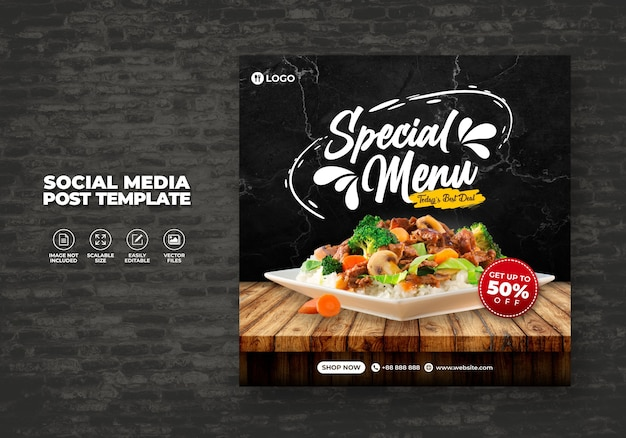 Lebensmittelrestaurant für sozialmedienvorlage super delicious menu promo