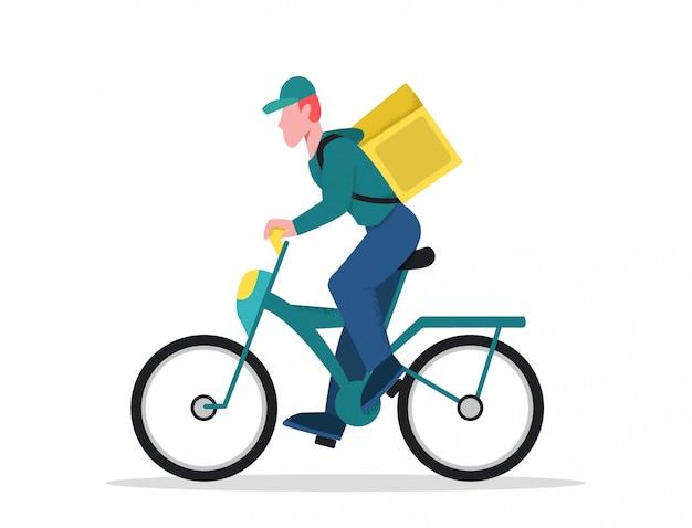 Lebensmittelservice-liefererfahrt auf die seitenansicht des fahrrades lokalisiert auf weiß