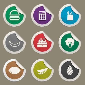 Lebensmittelsymbole für websites und benutzeroberfläche festgelegt