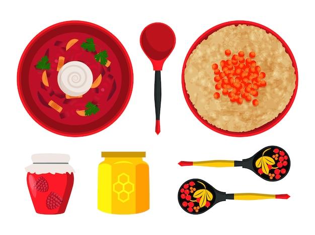 Lebensmittelteller der russischen küche-illustration