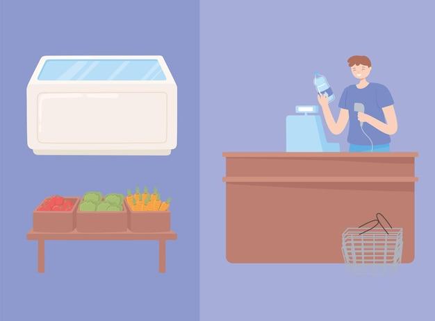 Lebensmittelverkäufer und theke